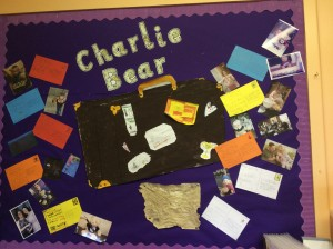 Wall display of Charlie Bear's adventures
