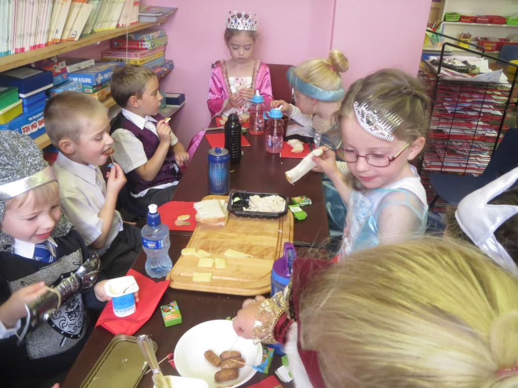 Some pupils at their 'Banquet'