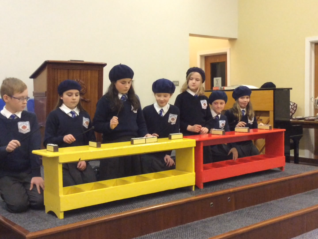 KS2 play 'Joy to the World' on chime bars