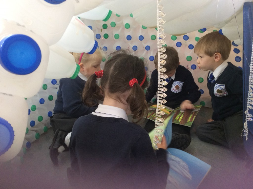 Reading in our igloo