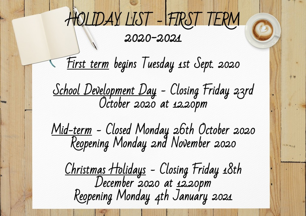 Holiday List First Term