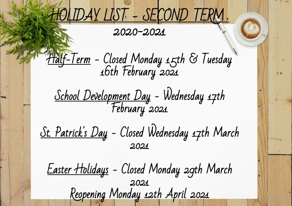 Holiday List Second Term