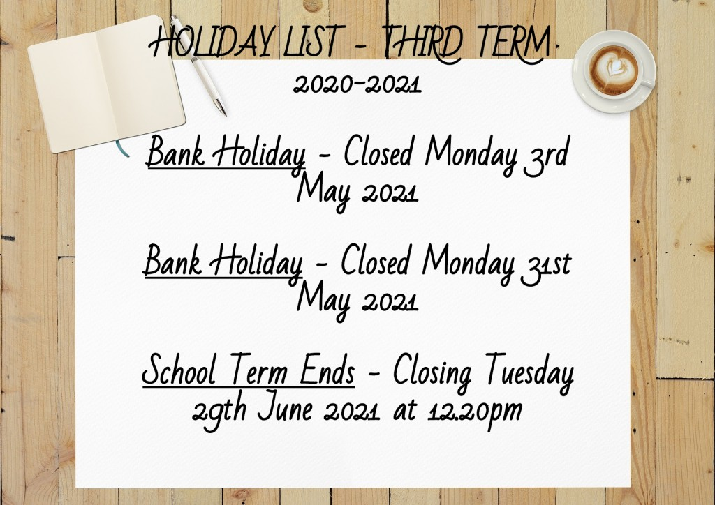 Holiday List Third Term