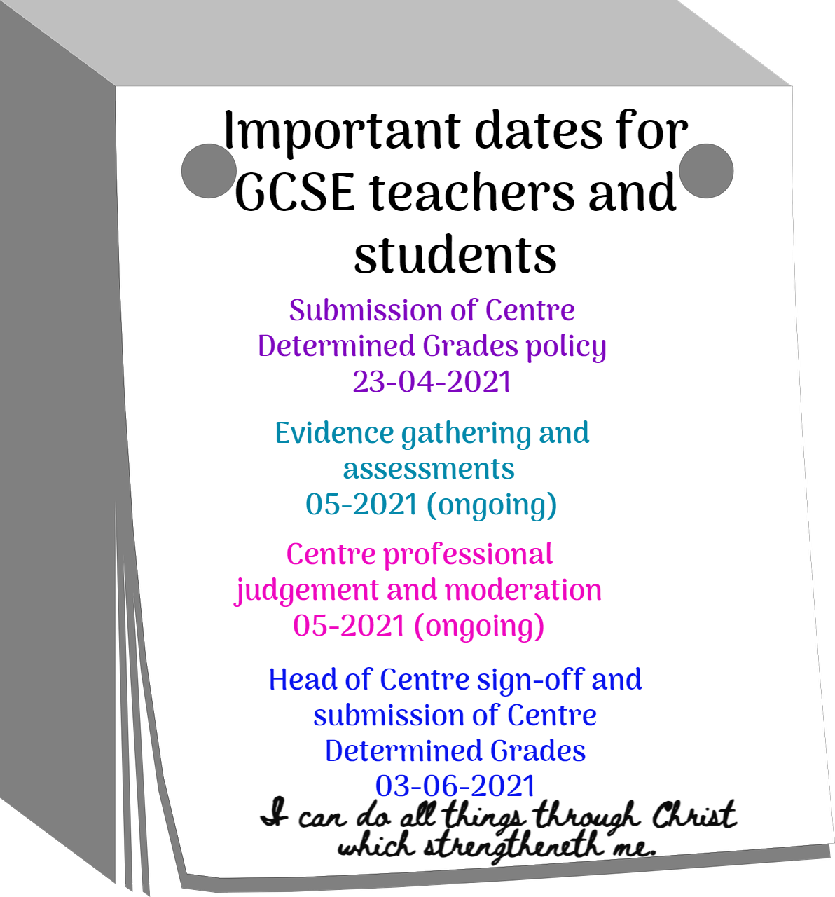 Important dates for GCSE